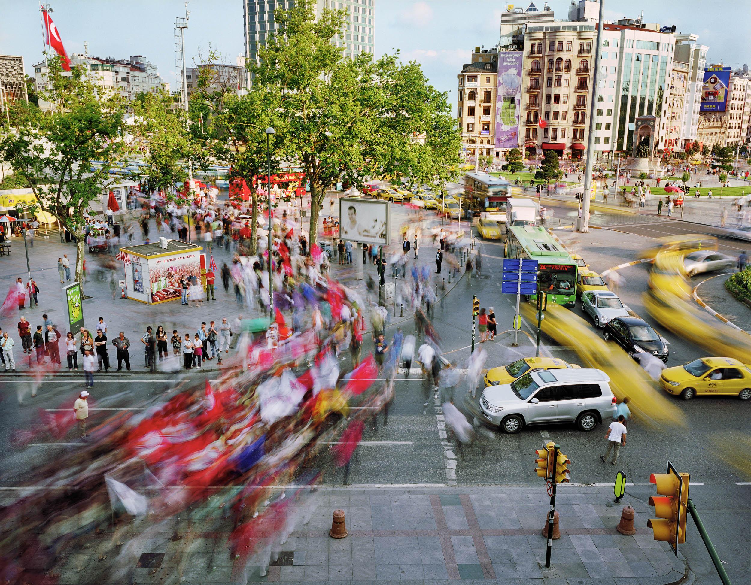 Taksim Meydani, Beyoglu, Istanbul, Turkey (political demonstration)