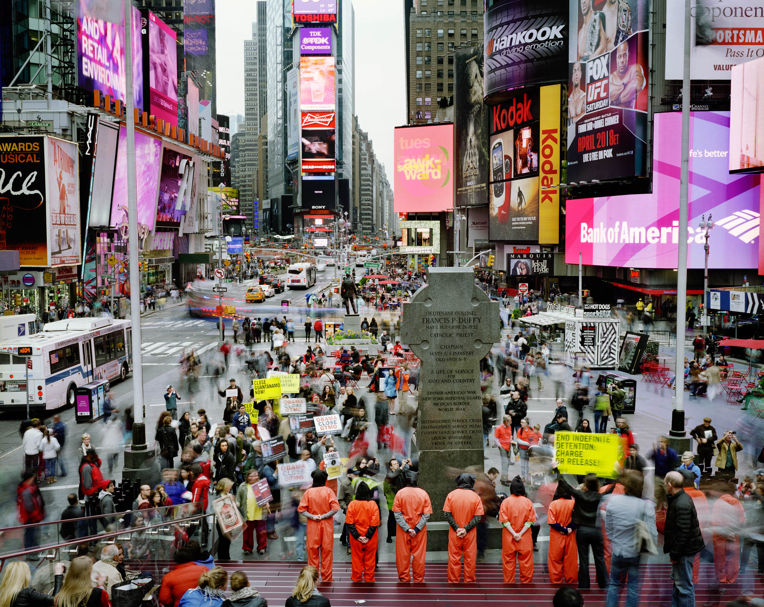 Times Square, Manhattan, New York, USA (Guantanamo Bay protest)