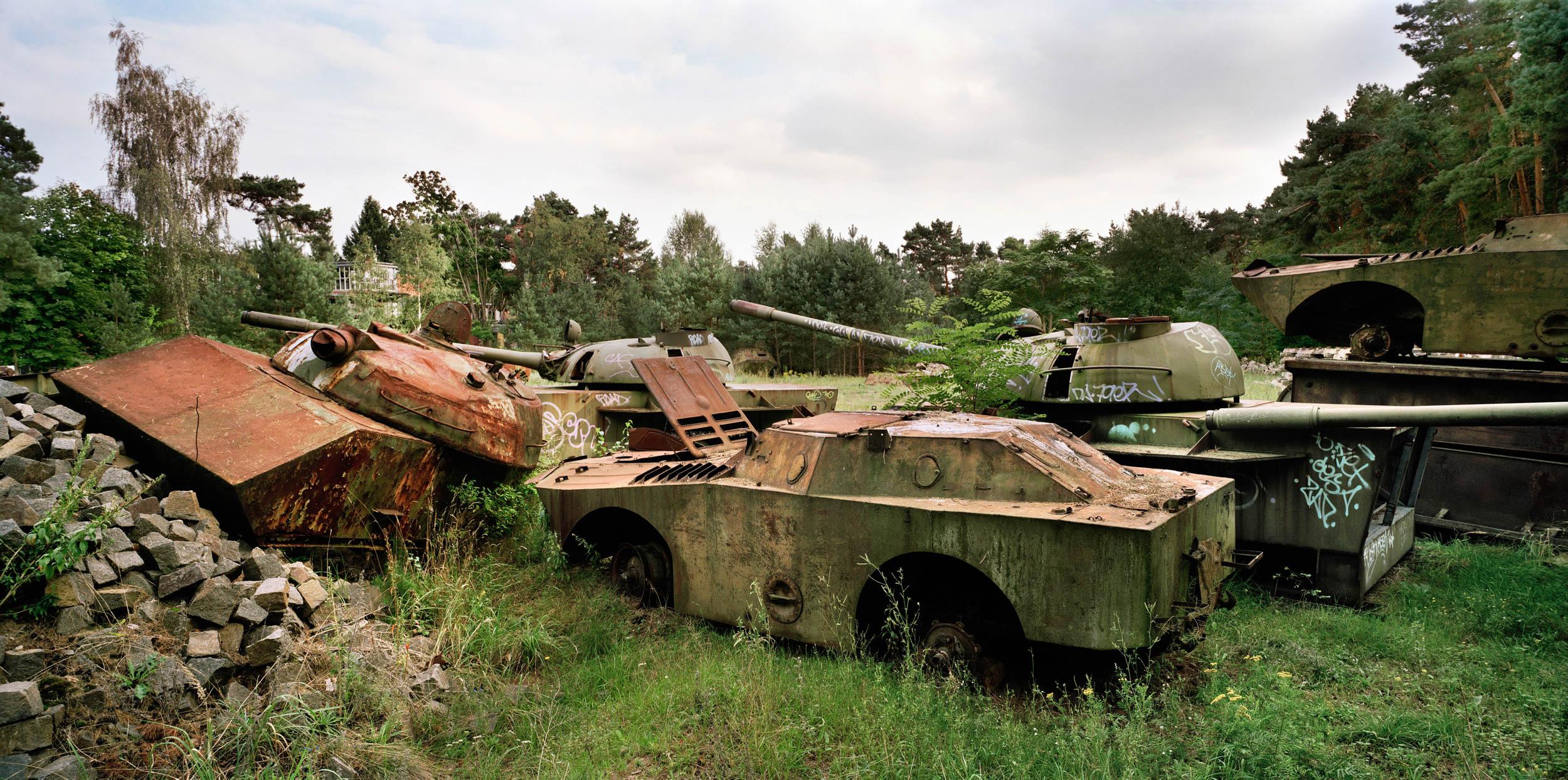 East Germany. Scrap metal tanks