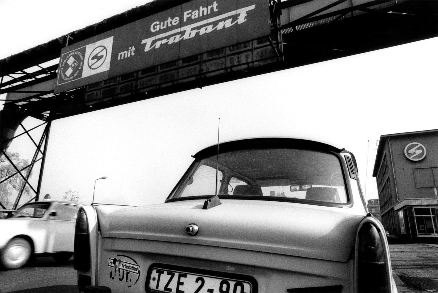 """Factory entrance. """"Have a good trip with Trabant"""""""