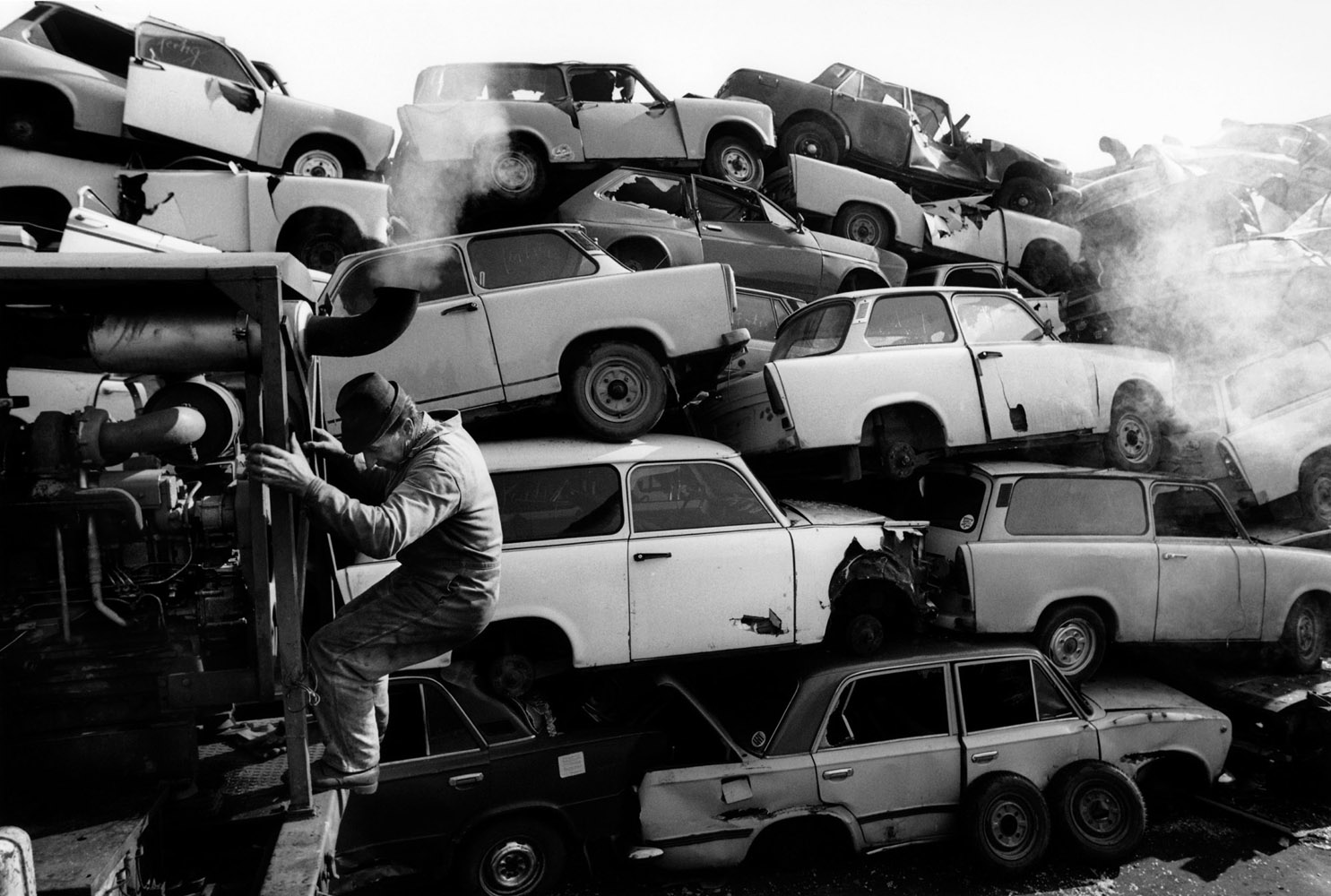 Scrap Trabants on the factory site where, after production ended, parts recycling was located.