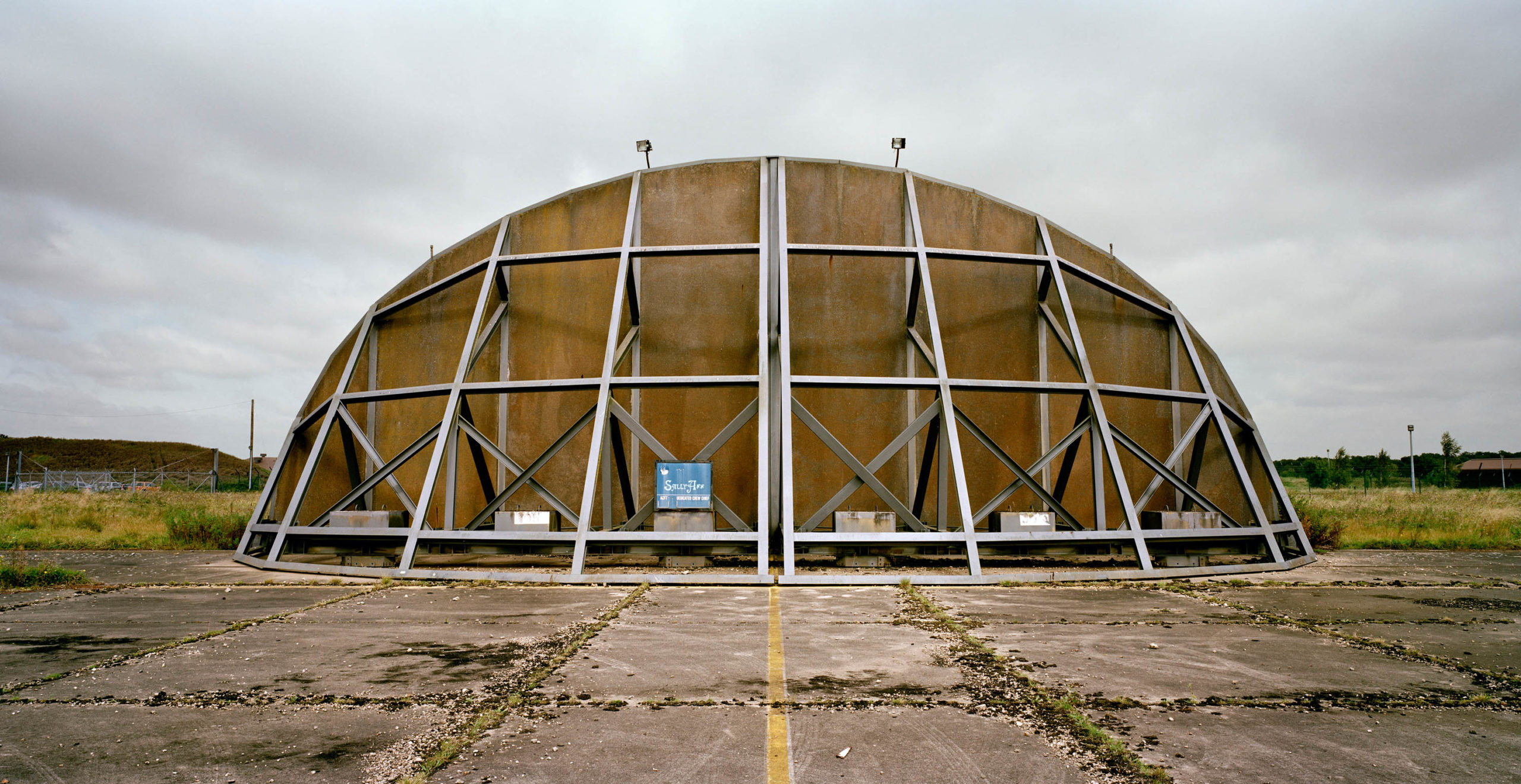 United Kingdom. Airplane shelter at a US Air Force base