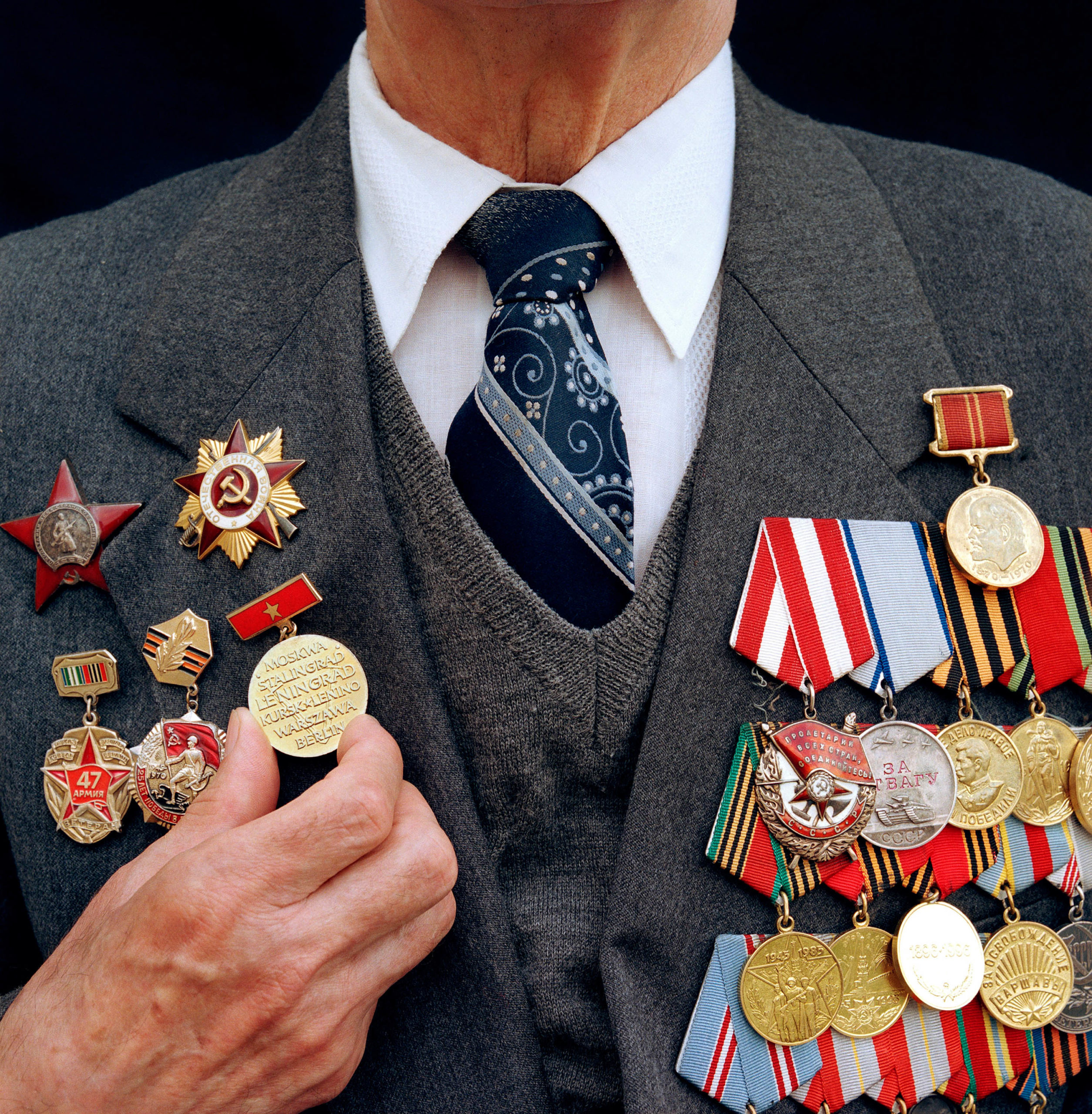 Russia, Moscow. Victory Day. War veteran Alexey Chelyapin's medals.