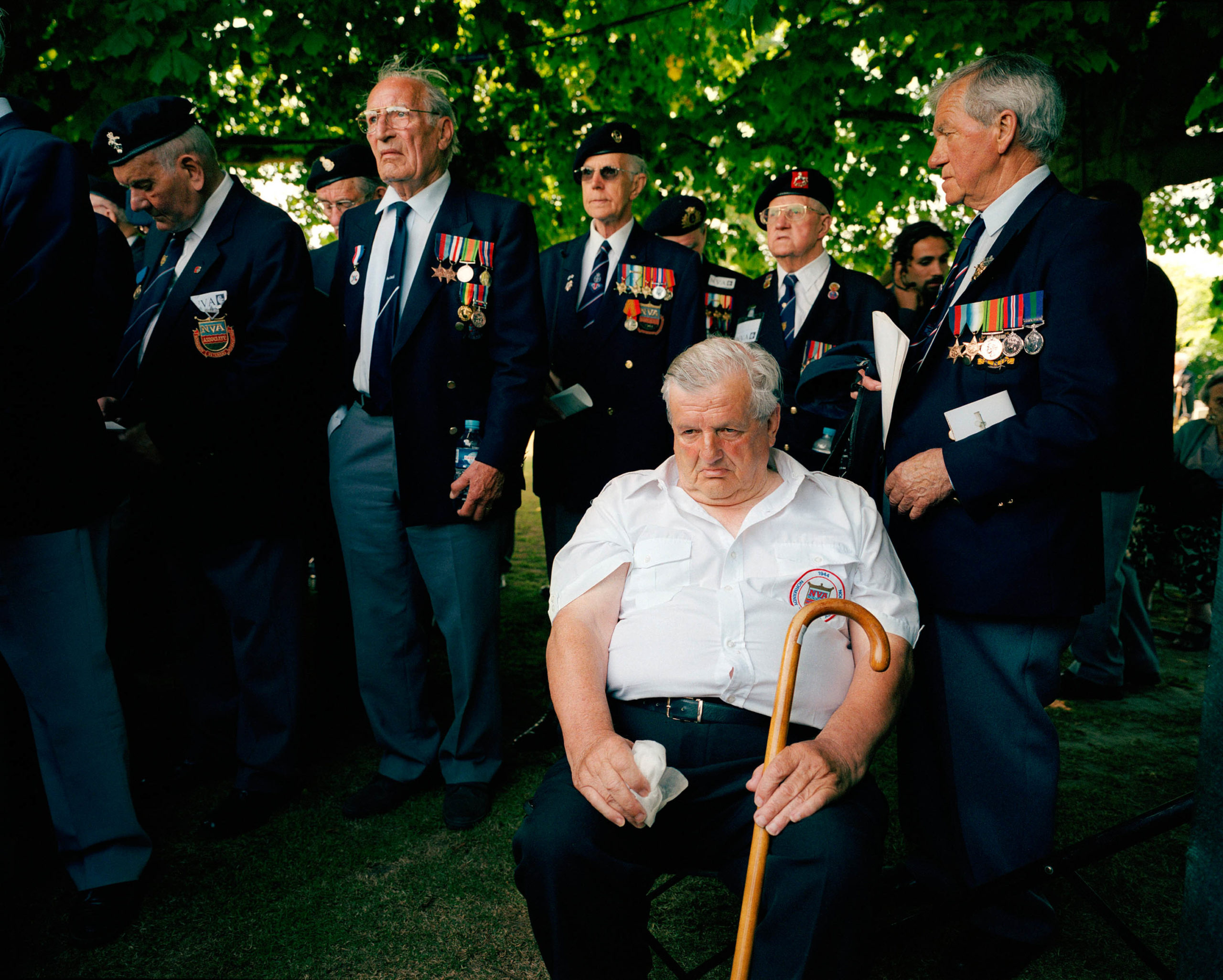 Normandy, Bayeux. D-Day celebrations. British veterans remember their dead at the war cemetery.