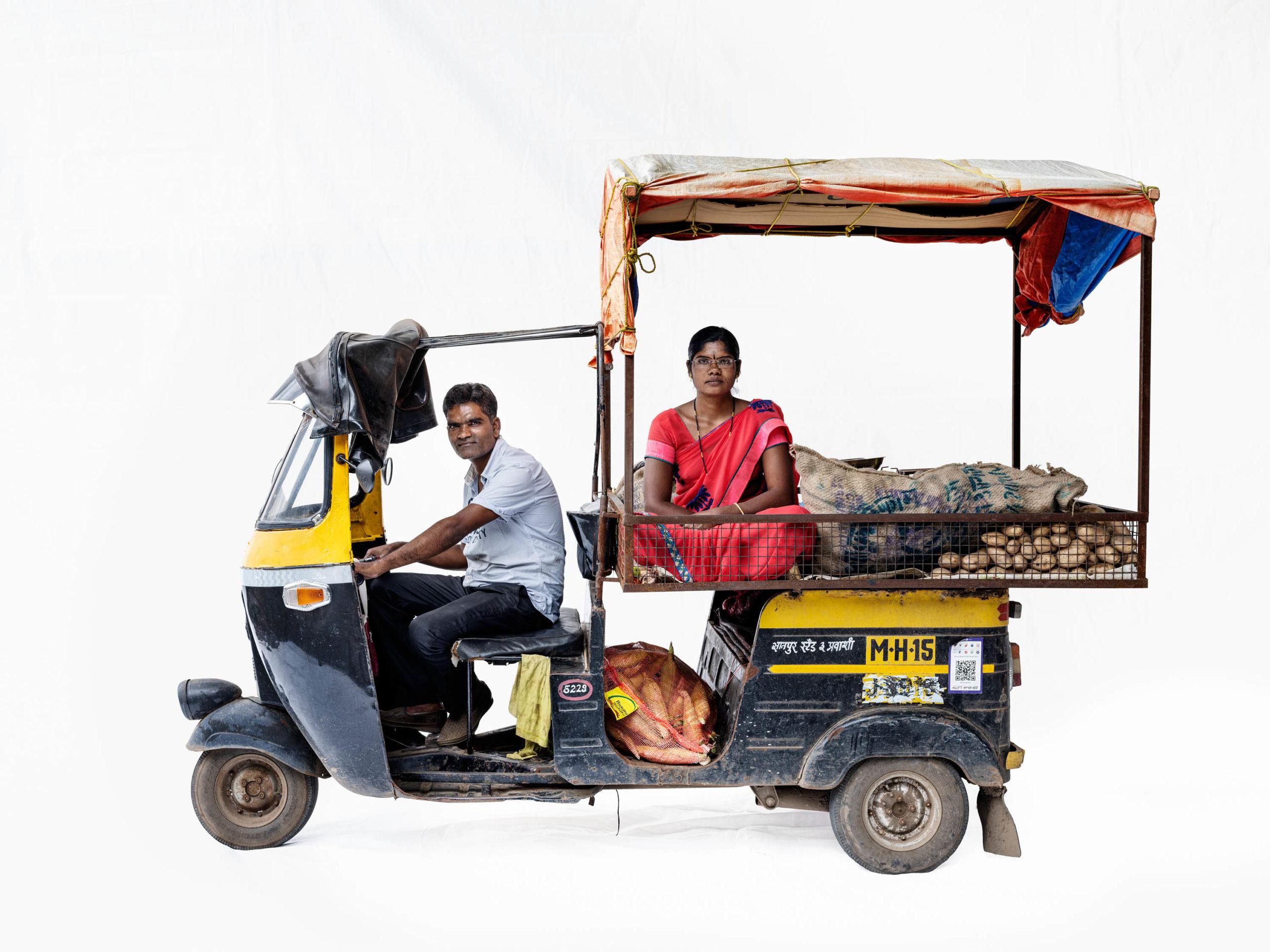 Bajaj autorickshaw #3; Vegetable vendors Manik Karke, Yashoda Karke (Nashik, Maharashtra)