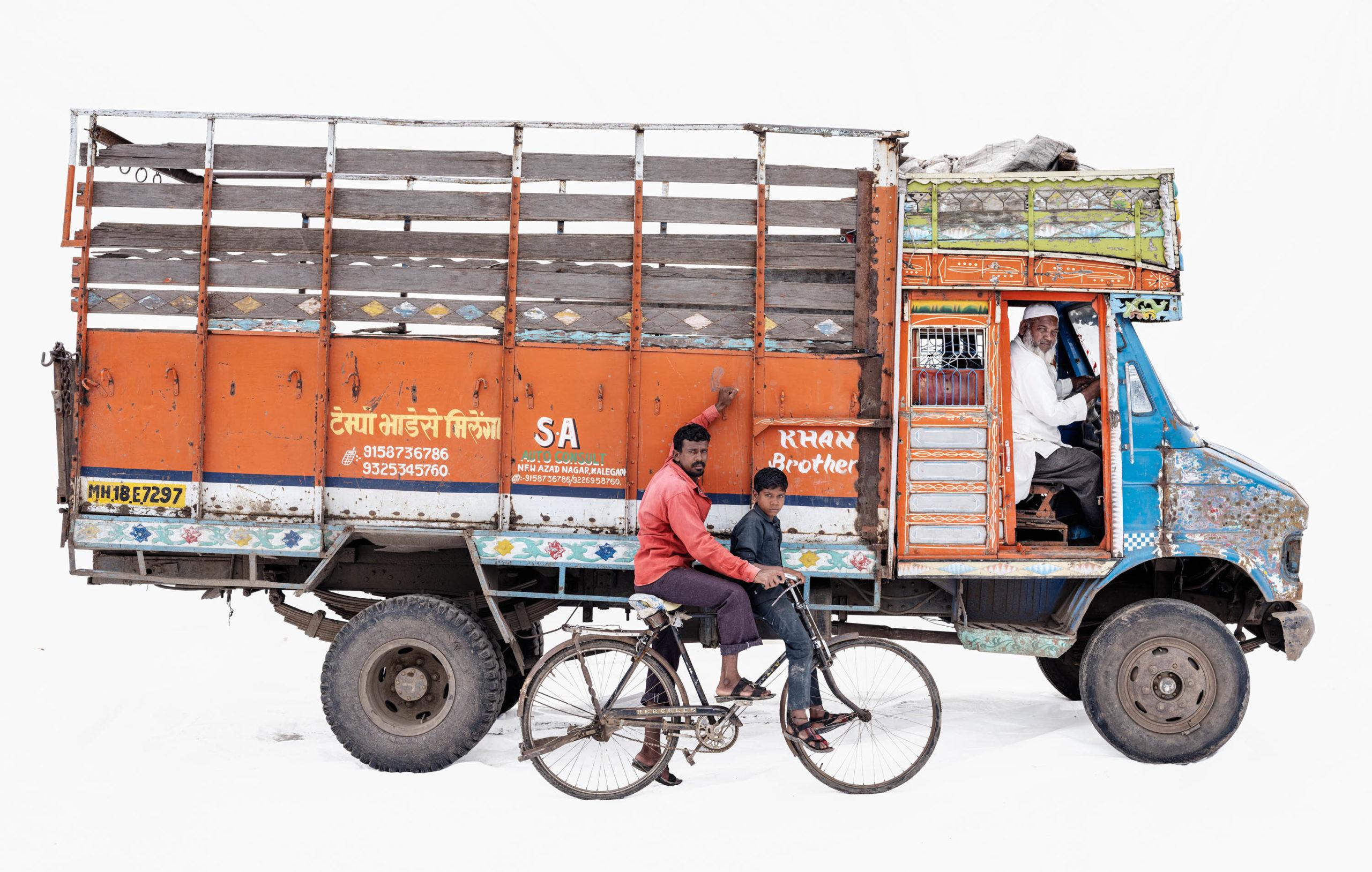 Tata 608 #2; Truck driver Ayub Sayyad | Hercules bicycle; Day laborer Arun Manjre and son Sunny (Maleagon, Maharashtra)