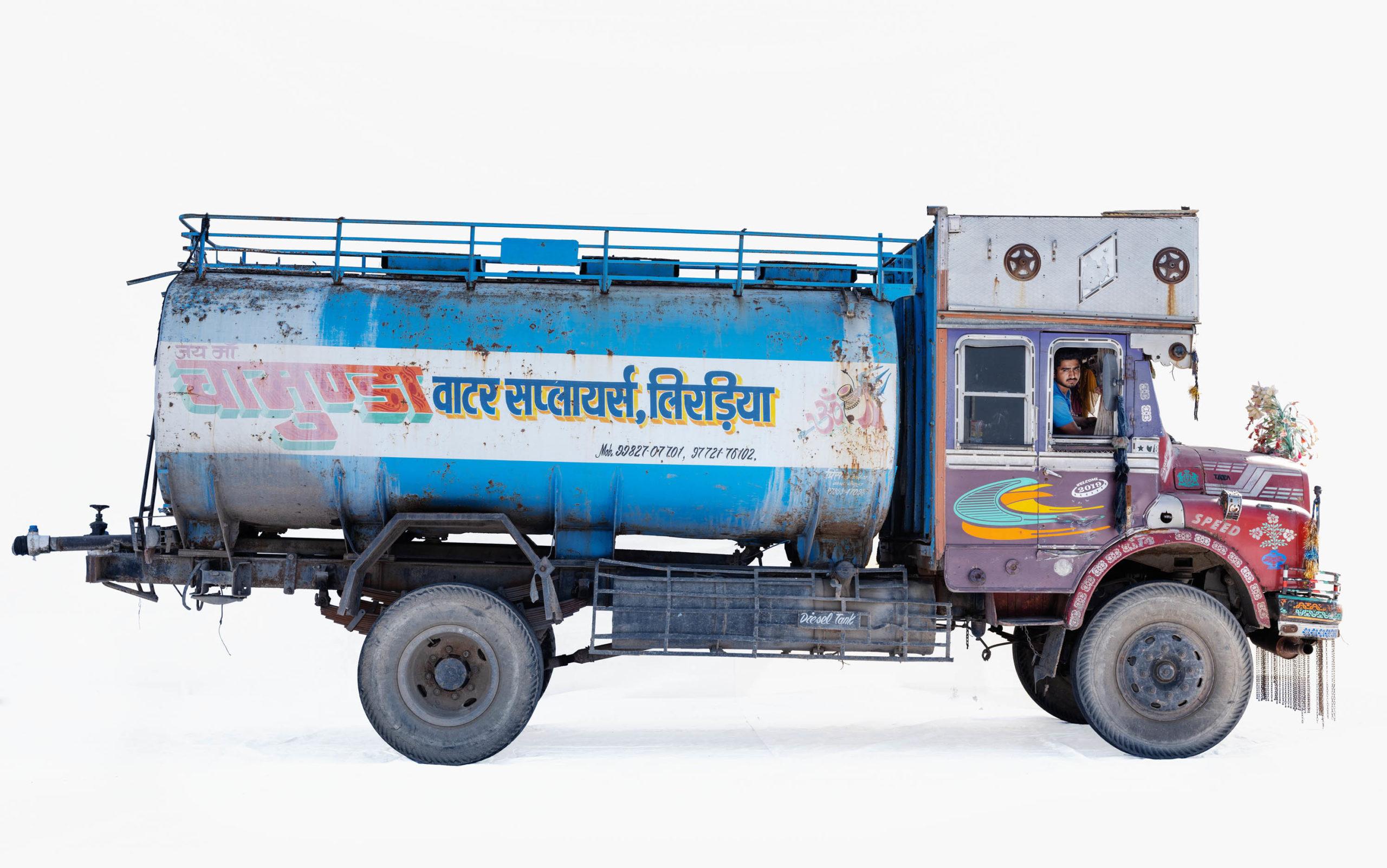 Tata 1612 water tanker; Truck driver Radhesham Jat (Bhilwara, Rajasthan)