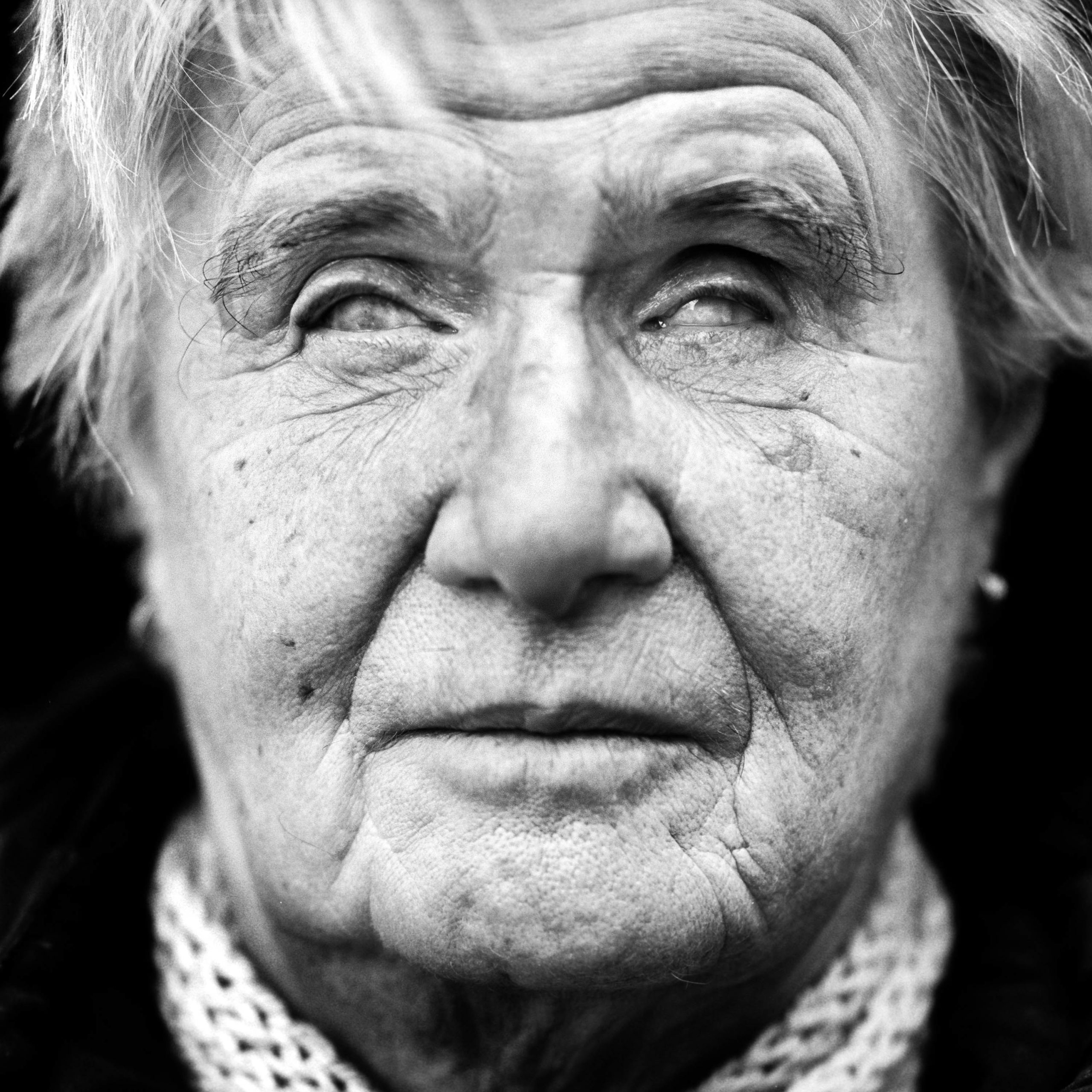 """Irene Kondraschow (USSR, 1940). Interview outtake: """"In March 1944, my mother took me to see some new baby lambs. she noticed that I couldn't see them at all. (…) Vitamin deficiency was the cause of my blindness. It was due to the shortage of food during the war years."""""""