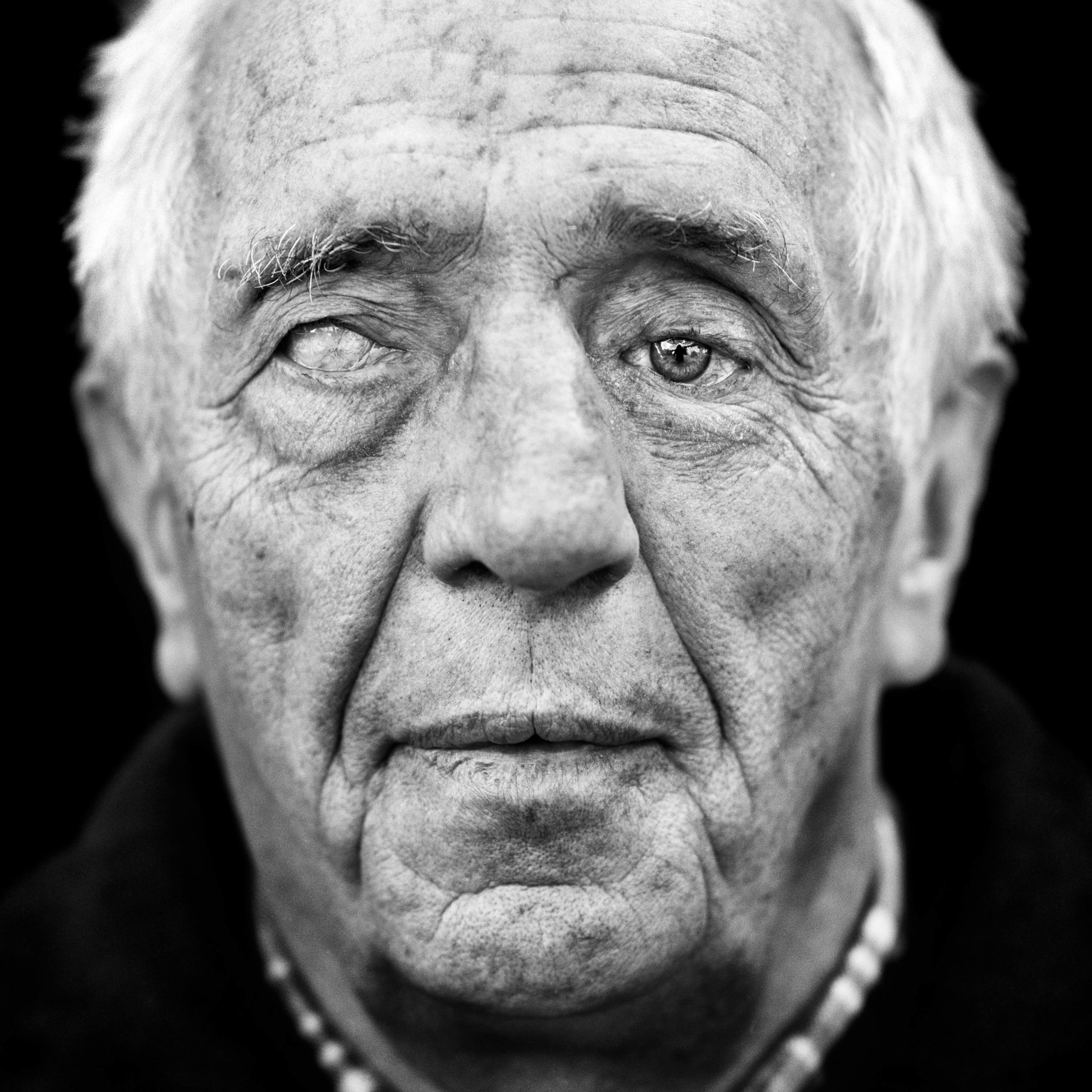 """Hartmut Mehls (Germany 1937). Interview outtake: """"On one of the quieter days, I went outside and suddenly a grenade exploded. Both my eyes were injured."""""""