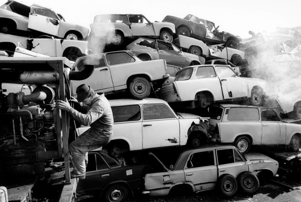 Scrap Trabants on the factory site where, after production ended, parts recycling was located, 1992